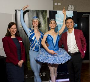 Queensland Museum Network Director Professor Suzanne Miller with Queensland Ballet Artistic Director Li Cunxin